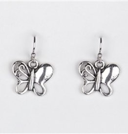 Silver Dangle Delicate Butterfly Earrings