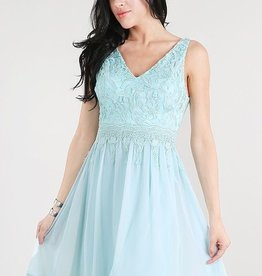 Nikibiki Pale Blue Lace Top Chiffon Flare Dress