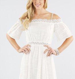 Lace Trim Off the Shoulder Dress