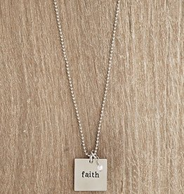 Urban Hope FAITH Silver Square with Pearl Dangle Necklace
