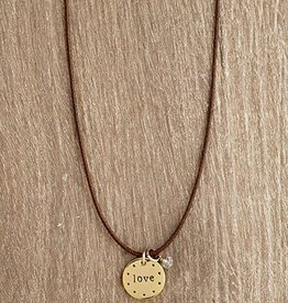 Urban Hope Gold LOVE Circle on This Brown Cord Necklace with Crystal Dangle