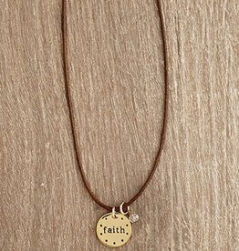 Urban Hope Gold Faith Circle Disc on Thin Brown Cord Necklace with Crystal Dangle