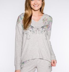 P.J. Salvage Floral Bird Long Sleeve Hooded Top