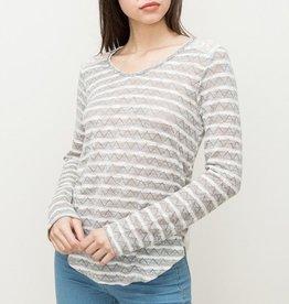 Hem & Thread Chevron Stripe Lace Inset Top