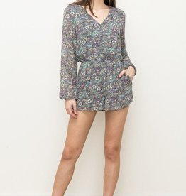 Hem & Thread Floral Printed Long Sleeve Romper