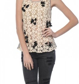 A'Reve Sleeveless Top with Flower Lace All Over