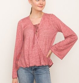 Mystree Lace Up Pull Over Plaid Back Top