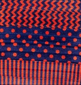 Navy and Orange Chevron, Stripes and Polka Dots Ribbon Headband Set
