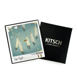 "Kitsch Gold ""Take Flight"" Feather Charm Necklace and Earrings Set"