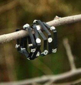 """Elly Preston """"Vines""""<br /> Balck Wrap Ring with Crystals"""