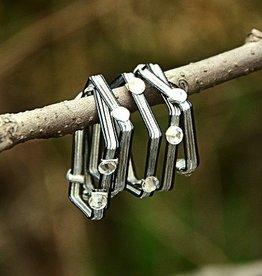 """Elly Preston """"Vines""""<br /> Black/Silver Wrap Ring with Crystals"""