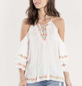 Miss Me Floral Bliss Halter Embroidered Top