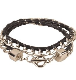 New Classic Black Double Wrap Half Braided Silver Chain Braclet with Toggle Closure