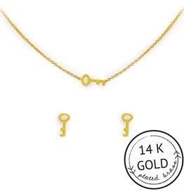 "Kitsch ""Unlock Your Dreams"" Gold Key Necklace Set"