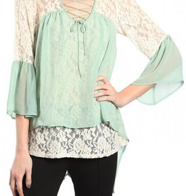 RYU Floral Embroidery Top with 3/4 Bell Sleeve