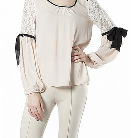 RYU Lace Inset Blouse with Ribbon Trim
