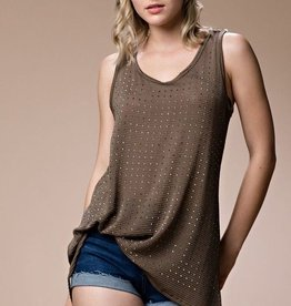 Vocal Tank Top with Rhinestone Trim on Front and Lace Back