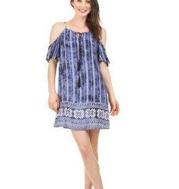 Tie Dye Border Cold Shoulder Boho Dress