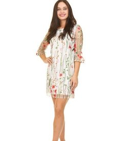 Floral Embroidered Dress 3/4 Sleeve