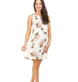 Textured Rose Print A-Line Dress