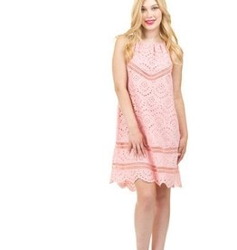Eyelet Lace Inset Halter Dress