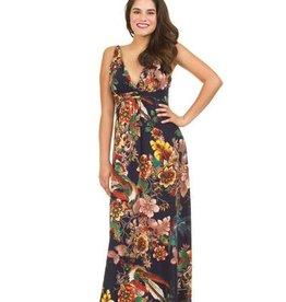 Bird and Floral Print Grecian Maxi Dress
