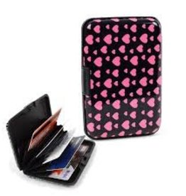 Card Gurard Aluminum Card Holder Black with Pink Hearts Pattern