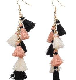 Tiny Tassel Earrings Black