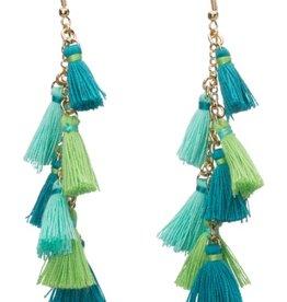 Tiny Tassel Earrings Turquoise