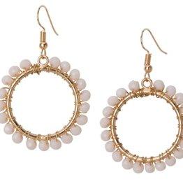 Crystal Open Circle Earrings Ivory