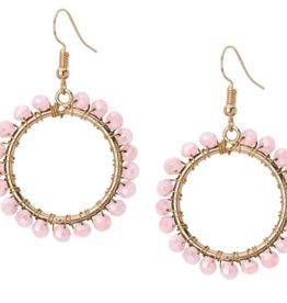 Crystal Open Circle Earrings Pink
