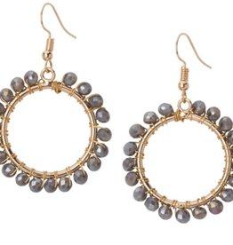 Crystal Open Circle Earrings Grey