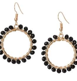 Crystal Open Circle Earrings Black