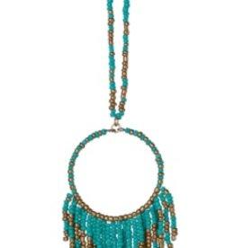 """Seed Bead Fringe Necklace Turquoise 17"""""""