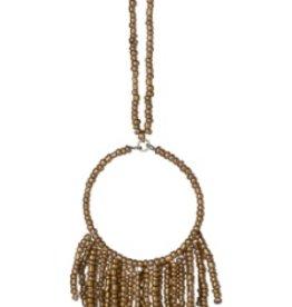 "Seed Bead Fringe Necklace Gold 17"""