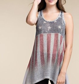 Flag Style Tank Top with Sublimation and Stones