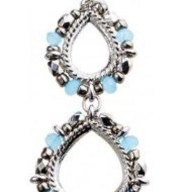 Rain Silver Double Teardrop Hematite Bead Edge French Wire Earring