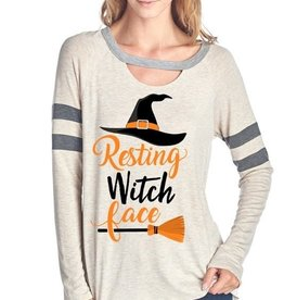 Resting Witch Face Halloween Long Sleeve Top