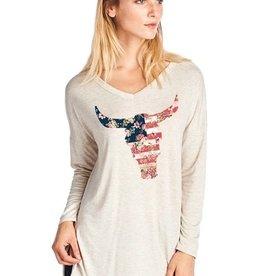 Americana Floral Print Steer Head Long Sleeve Top