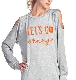 Let's Go Orange Football Long Sleeve Cold-Shoulder Top