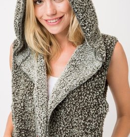 Soft and Fluffy Two Tone Sleeveless Hooded Cardigan