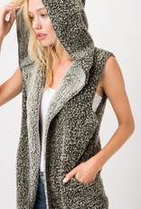 Soft and Fluffy Two Tone Hooded Cardigan<br /> Warm<br /> 100% Polyester