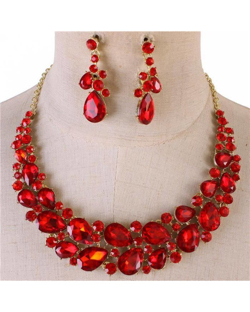 Roses Are Red Necklace Set - JaDazzles