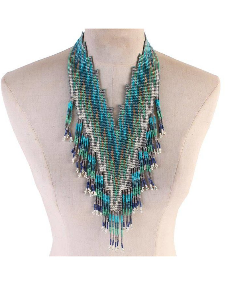 Aztec Directions Beaded Necklace - Turquoise - JaDazzles