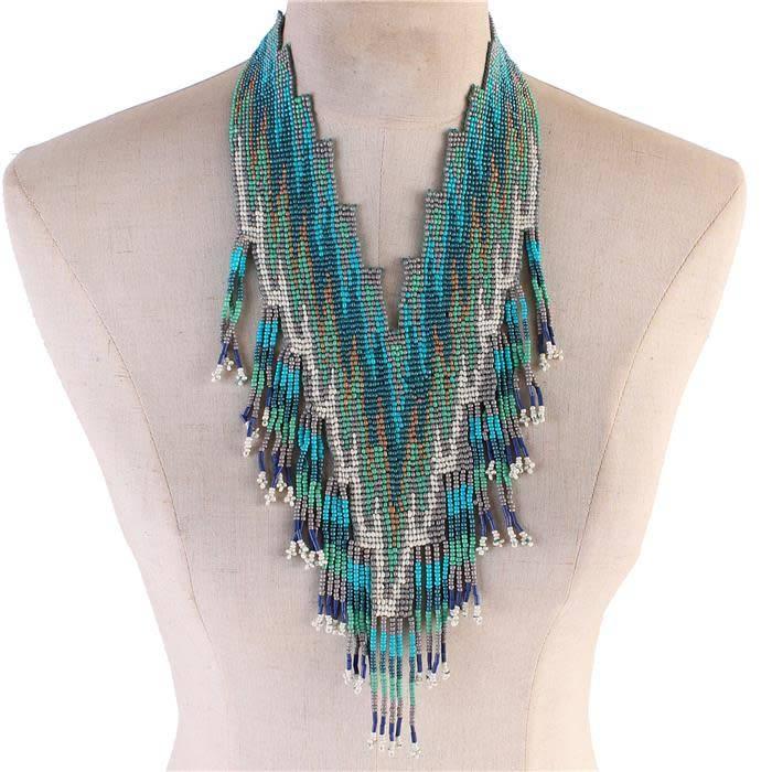 aztec directions beaded necklace turquoise jadazzles