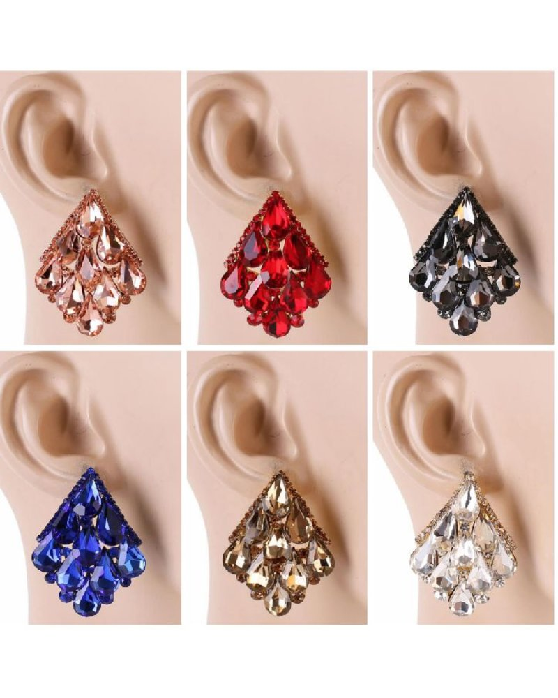 faux stud design decor gold earrings triangle jewel chic