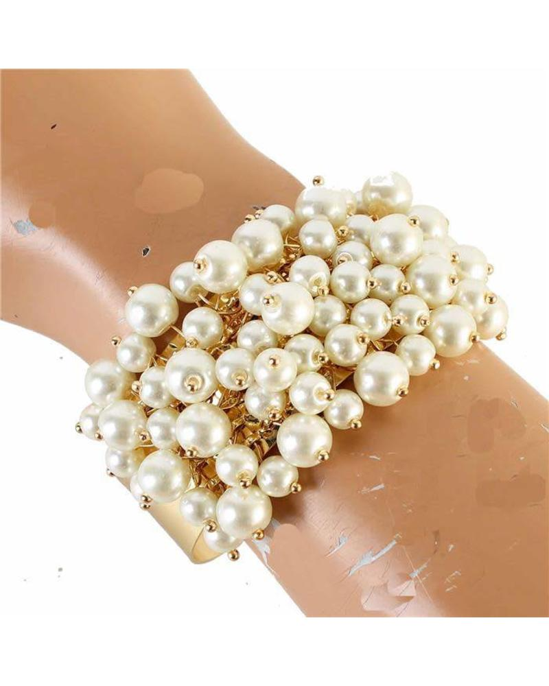 three rhinestone pearls wedding jewelry pearl bracelet strand handmade