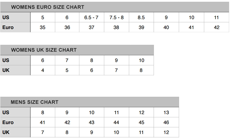 87e15fb4b9cc Footwear Size Chart - SOLE Shoes Inc.
