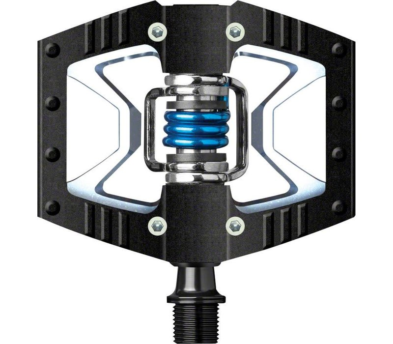 Crank Brothers  Doubleshot Pedals: Black/Raw with Blue Spring