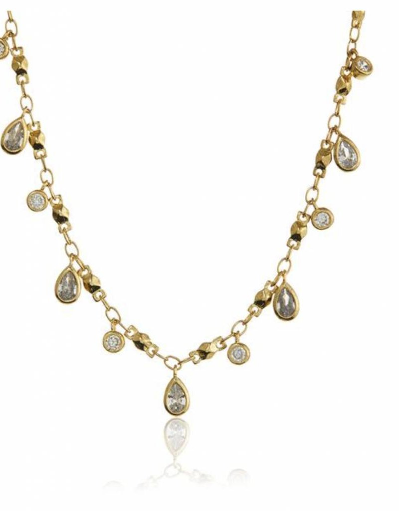 Luv AJ Cosmic Teardrop Charm Necklace in Gold Elyse Wilde